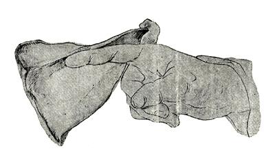 Εξισορρόπηση της σπάλας στον δείκτη του χεριού,  ως καλός οιωνός (σκίτσο Boicescu / G. Eckert)