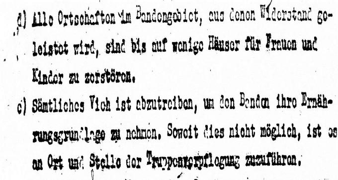 Επιχείρηση Πάνθηρας. Η διαταγή των επιτελών αξιωματικών για ισοπέδωση των χωριών και εκτέλεση των κατοίκων.