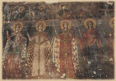 Οι Αγίες Κυριακή, Βαρβάρα, Αικατερίνη, Μαρίνα από την τοιχογραφία του Ναού του Αγίου Αθανασίου Μοσχοπόλεως (Μοσχόπολις 1995)