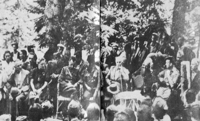 Στιγμιότυπο από την πανθεσσαλική συνδιάσκεψη του ΕΛΑΣ στην Καστανιά. Πηγή: Στέφανος Σαράφης «Ο ΕΛΑΣ»